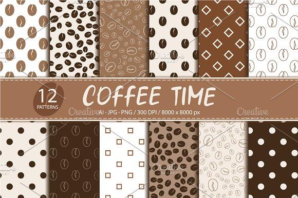 Coffee Set Of 12 Seamless Patterns