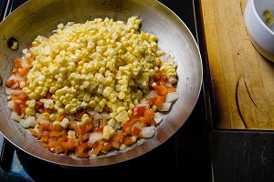 Sweet corn red peppers and onions