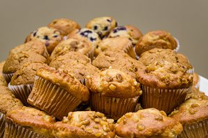 Plate of fresh blueberry and nut muffins