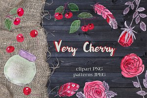 SALE VERY CHERRY clipart and pattern