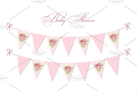 Cute Vintage Shabby Chic Textile Bunting Flags Ideal For Baby Shower Wedding Birthday