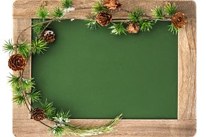 Blackboard with Christmas Decoration