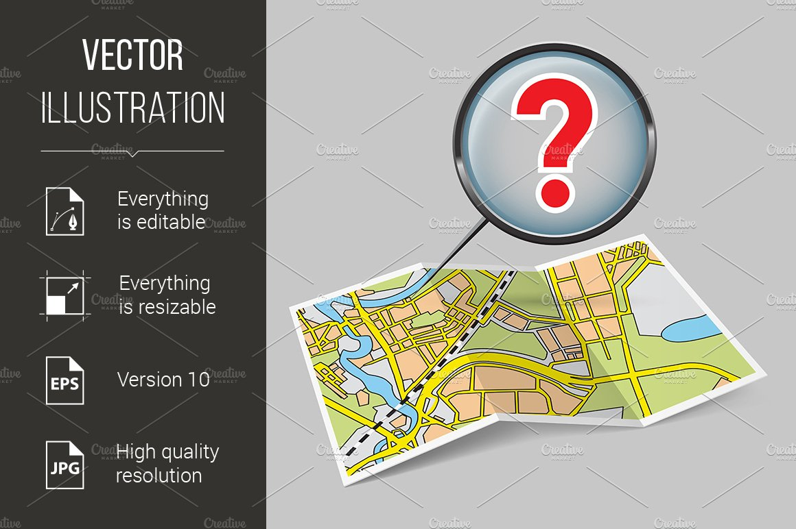 map booklet with question mark graphics creative market