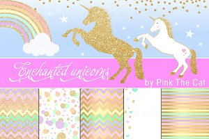 Unicorn Clipart Rainbow Glitter Gold