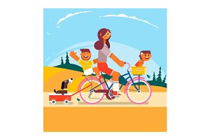Active family vacation. Mother, son and daughter are riding on bicycles in the park. Vector illustration