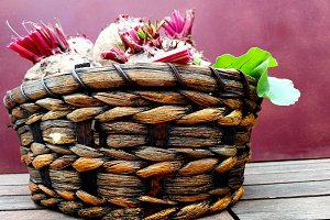 Basket with fresh beets