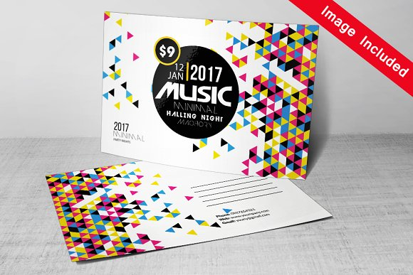 Futuristic Music Postcard Template