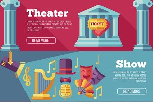 Theatre vector flat banners set