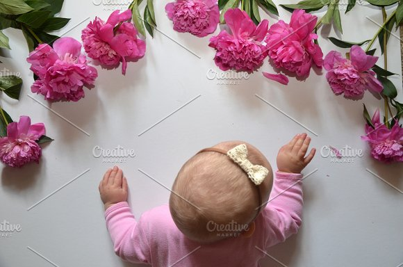 Little Baby Girl With Pink Peony On White Background Free Place For Text Happy Birthday Happy Mother Day Happy Father Day