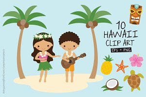 Hawaii Beach Vector and PNG Set