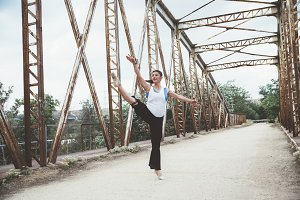 ballerina dancing in the bridge