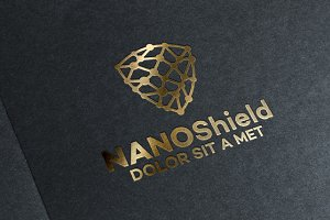 Abstract Nano Shield Logo designs