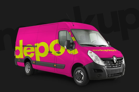 4K Work Van Wrap PSD Mockup