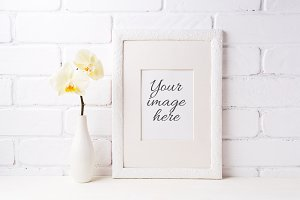 White frame mockup with yellow orhid