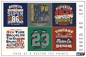 PACK OF 6 TEE PRINT VECTOR DESIGNS