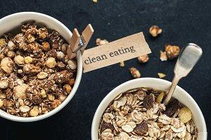 Breakfast cereals in paper cups