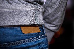 men jeans, rear view closeup