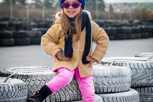 beautiful stylish little girl with glasses
