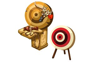 Ancient wooden Darts and clay jug. Vector isolated
