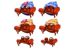 Set of crabs in blue, yellow shells and without it