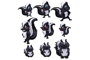 Skunks of different sizes and pose