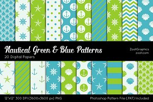 Nautical Green & Blue Digital Papers