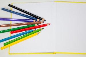 all for children creativity, pencils, scissors, colored paper
