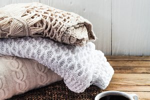 Knit cozy sweater folded stack