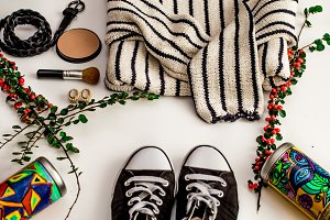 Set-a  of accessories and fashionable stylish clothes
