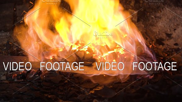 Blacksmith Furnace With Burning Coals