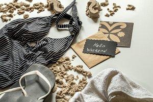 still life of beach items, leisure