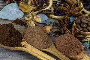 composition of dried lemon, cinnamon coffee