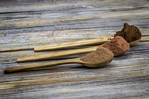 wooden spoon with coffee ,cocoa