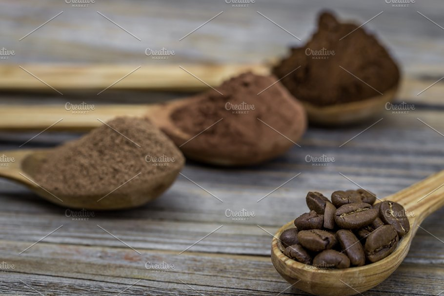 Beautiful Little Wooden Spoon With Coffee On Background Food
