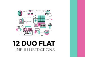 Flat Line Web Banner Illustration V3