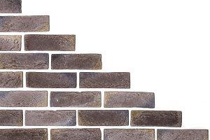 light brown brick wall white background