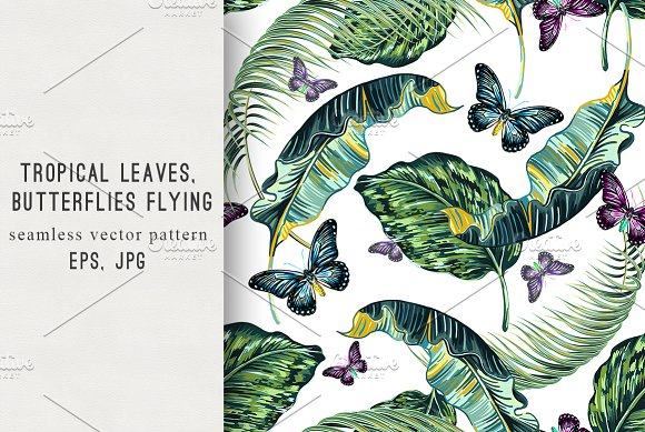Tropical Leaves Butterfly Pattern