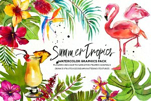 Tropic Watercolor Flowers & Animals