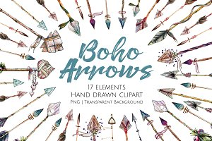 Boho Arrows Hand Drawn Clipart Set