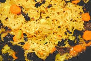 Noodles pasta, faded vintage look