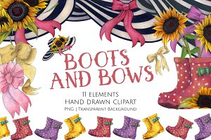 Boots and Bows Clipart Set