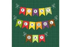 Cute Back to School bunting with multicolored flags