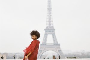 Girl in Red Dress at Eiffel Tower
