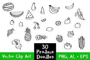 30 Fruit + Veggie Produce Doodles