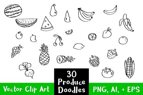 30 Fruit Veggie Produce Doodles