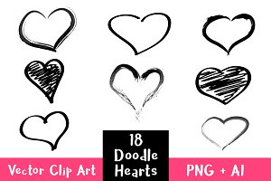 18 Doodle Hearts Clipart