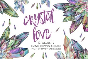 Crystal Love Clipart Set