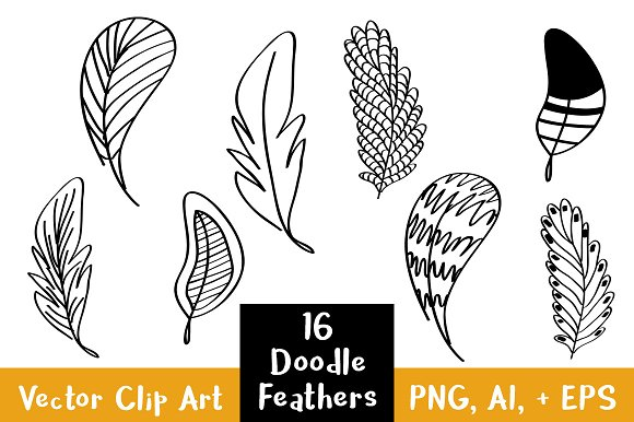 16 Doodle Feathers Clipart