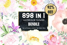 92% OFF Watercolor flowers BUNDLE