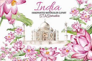 Taj Mahal Clipart Watercolor India